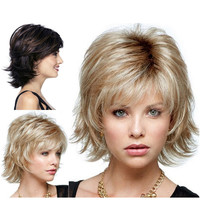 StrongBeauty Women S Wig Black Wine Red BFluffy Short Straight Layered Hair Synthetic Full Wigs
