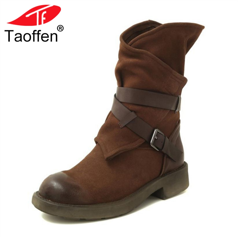 TAOFFEN Real Leather Women Mid Calf Boots Buckle Round Toe Winter Shoes Warm Fur Fashion Boots Lady Daily Footwear Size 34-40 taoffen luxury women genuine leather mid calf boots winter plush fur warm shoes women gothic buckle flats boots size 34 39