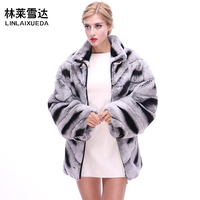 С мехом кролика пальто 2018 Модные свободные теплые из натурального меха пальто Для женщин натуральным шубы Для женщин Зимняя куртка для дево