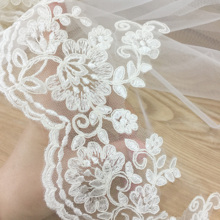 2 yards Delicate Ivory French Alencon Lace Trim, Fine Scallop Floral Embroidery Cord Lace Edging 13cm Wide scallop trim floral lace lingerie set