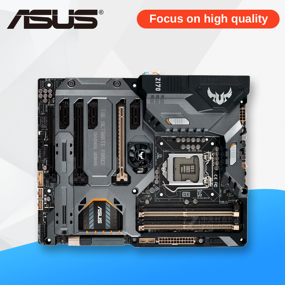 все цены на Asus SABERTOOTH Z170 MARK 1 Original New Desktop Motherboard Z170 Socket LGA 1151 i7 i5 i3 DDR4 64G ATX онлайн