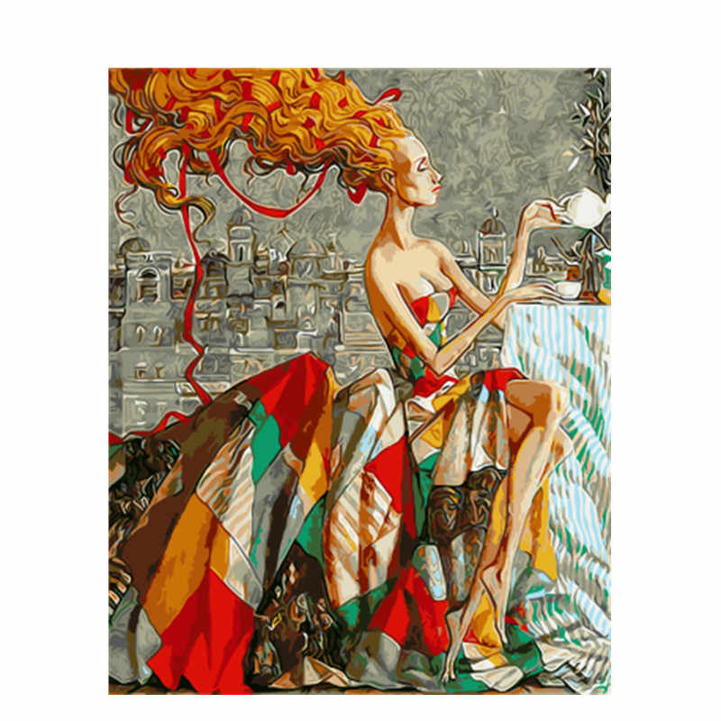 DRAWJOY Framed Picture Beauty Lady DIY Painting By Numbers Colorful Picture Home Decor For Living Room Hand Unique Gifts GX9353