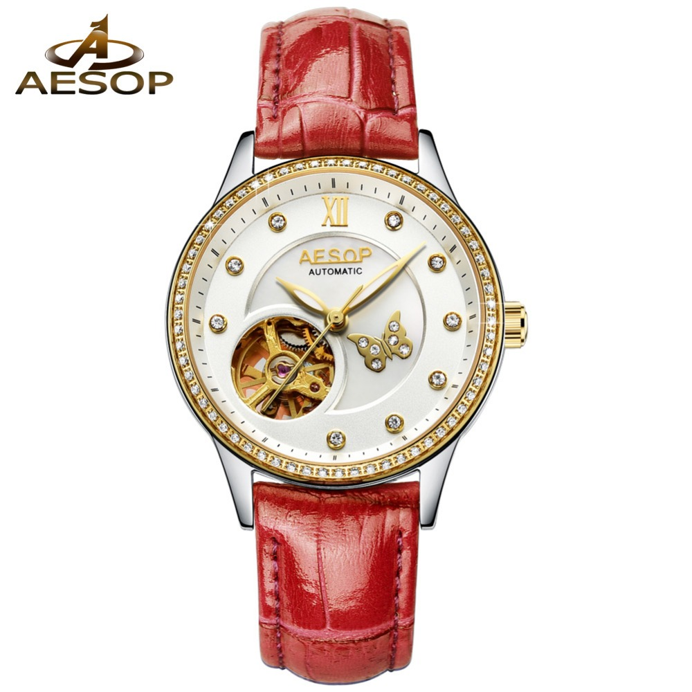 AESOP Sport Watches for Women Skeleton Dial Diamond Mechanical Watch hollow out Luminous Hands Rose Gold Leather Unique Watches AESOP Sport Watches for Women Skeleton Dial Diamond Mechanical Watch hollow out Luminous Hands Rose Gold Leather Unique Watches