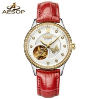 AESOP Sport Watches for Women Skeleton Dial Diamond Mechanical Watch hollow out Luminous Hands Rose Gold Leather Unique Watches