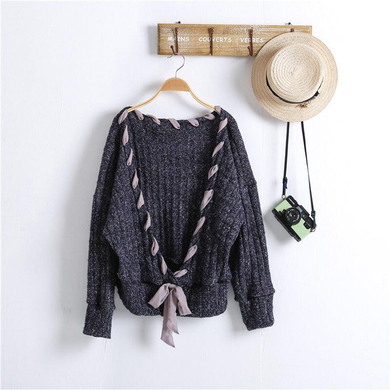 Y03577 Kaki Réversible D'origine Col Femmes Embrasse khaki Doux Desing V Mujer Profond À Tricoter Suéter Femelle Blue Navy Crochet Automne D'hiver v44ETw0q