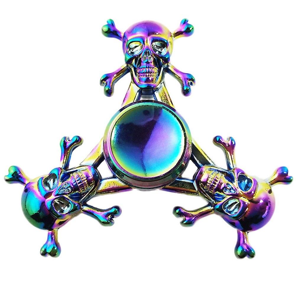 Three Skull Colorful Hand Fidget Spinner Fingertips Spiral Fingers Gyro Hand Spinner Toys Zinc Alloy