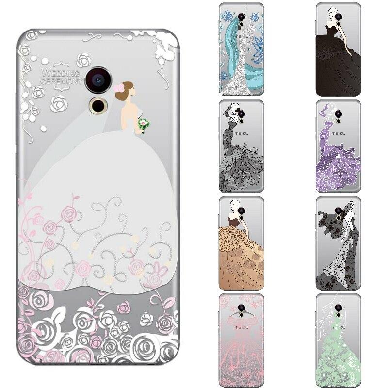 Для Meizu Pro 6 Телефон чехол для Meizu MX6 Pro прозрачный 5.2 дюймов Pro 6  S ультра тонкий чехол свадебное платье узор Капа гель acad6e97ae8
