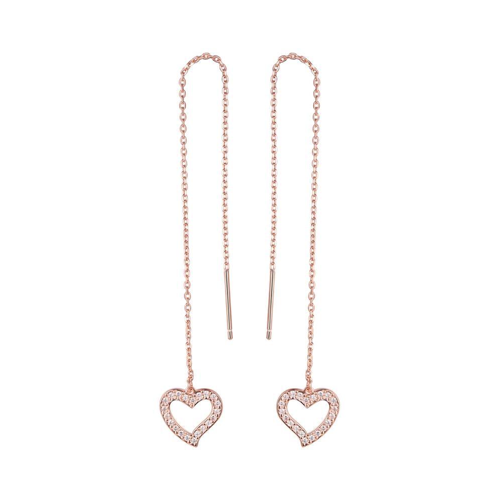 925 Sterling Silver Heart Shape Cubic Zirconia Crystal Ear Dangle Drop Earrings