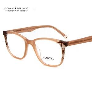 Image 1 - Moda itália design óculos para mulher azul preto acetato óculos de armação óptica óculos de lente limpa fvg7096