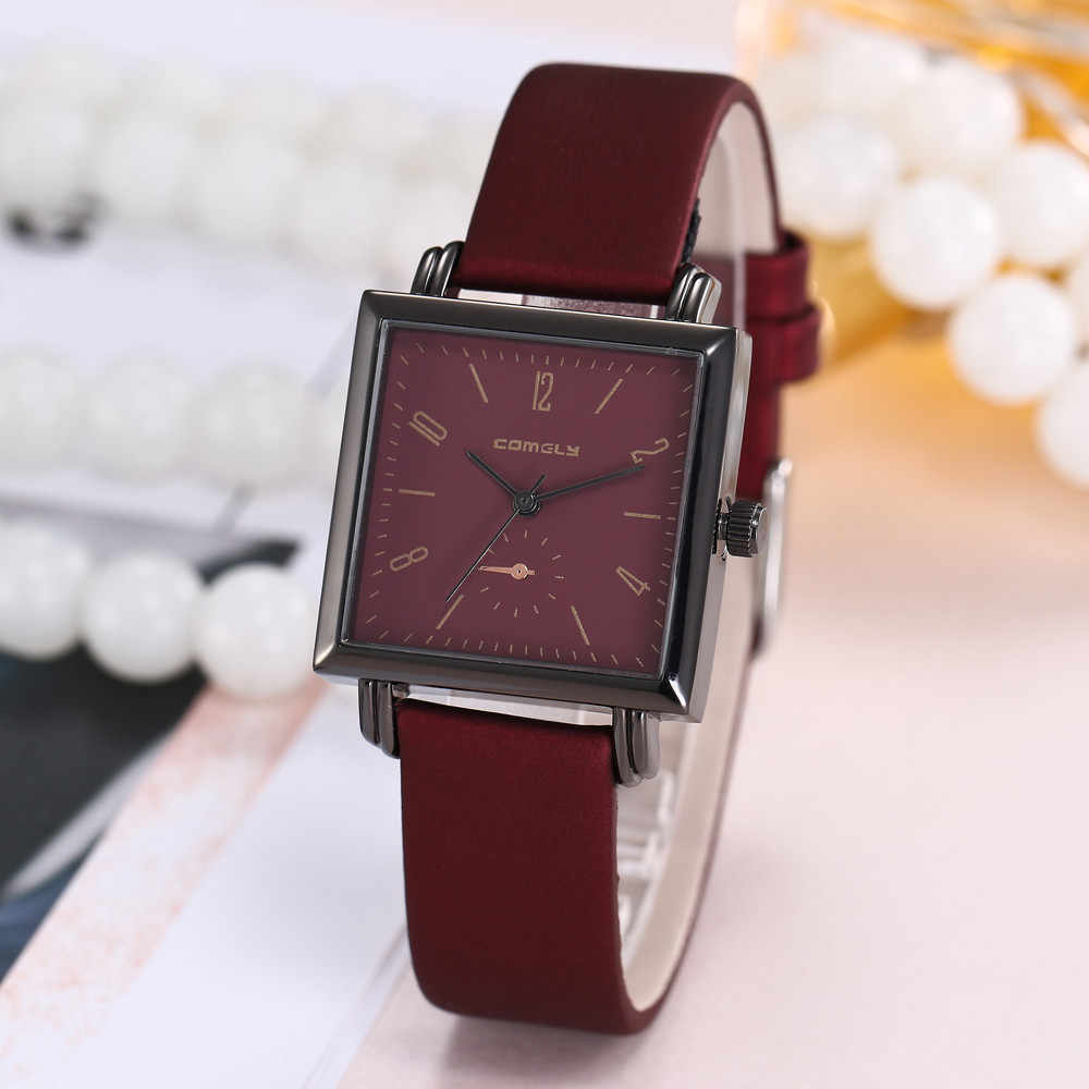 8be9d8612c9 New Fashion Women Watches Clock Casual Leather Band Analog Quartz Square Wrist  Watch Luxury Ladies Watches