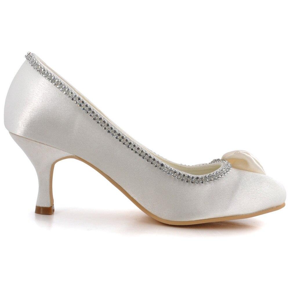 Zapatos Mujer Arco Satén Moda Trim Ronda Nupcial Rhinestone Boda Marfil Talón Bombas Aj8960 Mujeres Mediados De n5x4n