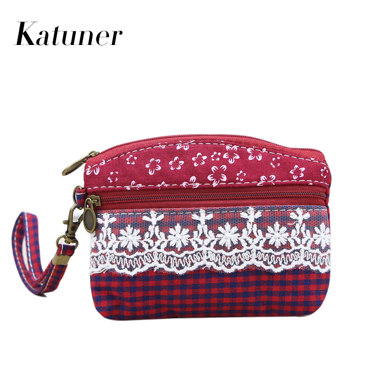 цена на Katuner New Fashion Lace Canvas Coin Purses Wallet Kids Children Coin Pouch Girls Money Bag Women Zipper Key Card Bag KB073