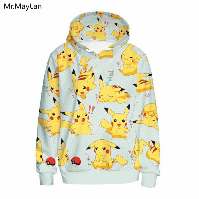 3D Print Cartoon Pokemon Cute Pikachu Hoodies Men Women Pullover Hooded Sweatshirts Hip Hop Streetwear Casual Tops Jackets Coat