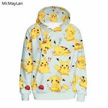 3D Print Cartoon Pokemon Cute Pikachu Hoodies Men Women Pullover Hooded Sweatshirts Hip Hop Streetwear Casual Tops Jackets Coat