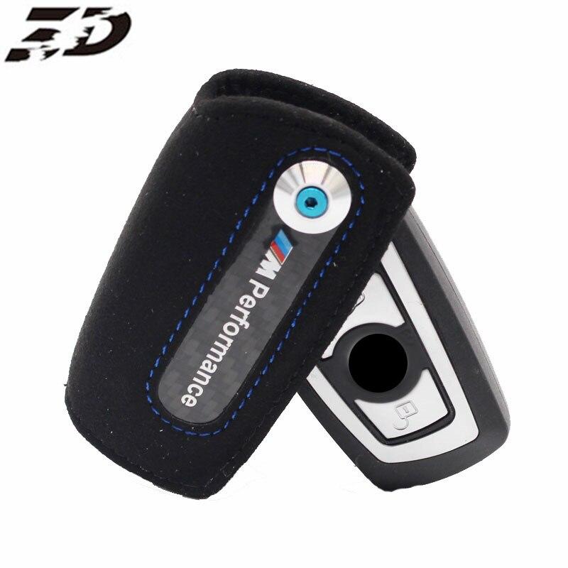 Carbon Fiber Key Case Keychain Holder Cover Bag Leather ///M Emblem Key Case For Bmw F10 F20 X3 X1 X5 X6 F30 Key Case Holder