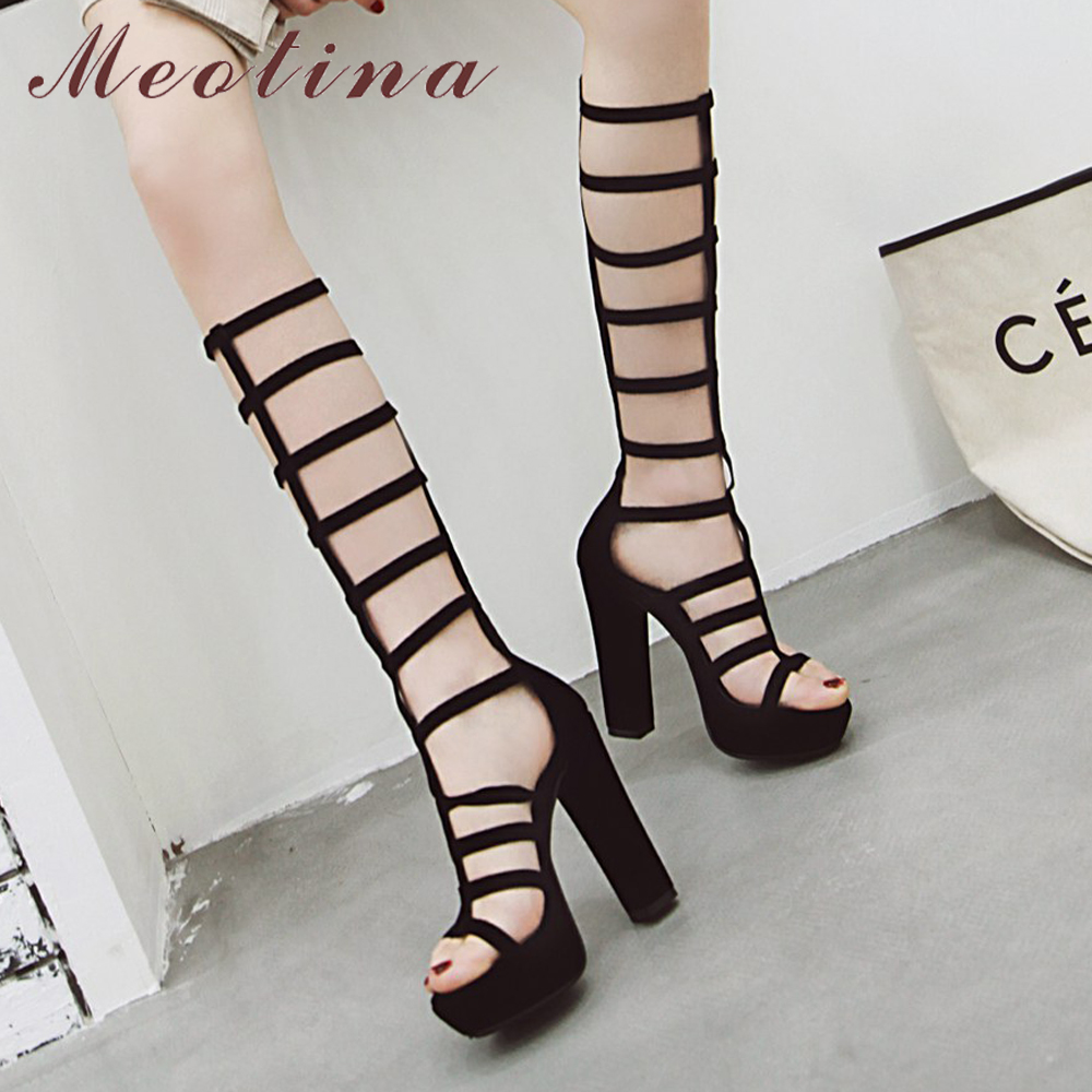 b0d2710f1d7 US $33.58 48% OFF|Meotina Women Shoes Summer Gladiator Sandals Sexy  Platform Chunky High Heel Party Shoes Zipper Cutout Long Boots Lady Size 33  43-in ...