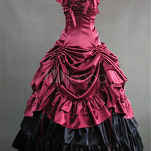 Ainclu Распродажа! Женские винтажные платья Лолиты Викторианский красный черный фиолетовый атласный рюшами ретро Макси платье для Хэллоуина