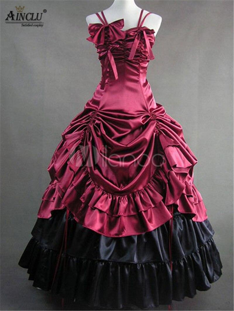 Vente de dédouanement Ainclu!! Femmes Vintage Lolita robes victorien rouge noir violet Satin à volants rétro Maxi robe pour Halloween