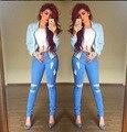 Vaqueros 2015 otoño mujer rodilla flaco pantalones lápiz delgado Denim Ripped Jeans Boyfriend mujeres venta caliente de moda Ripped Jeans para mujeres