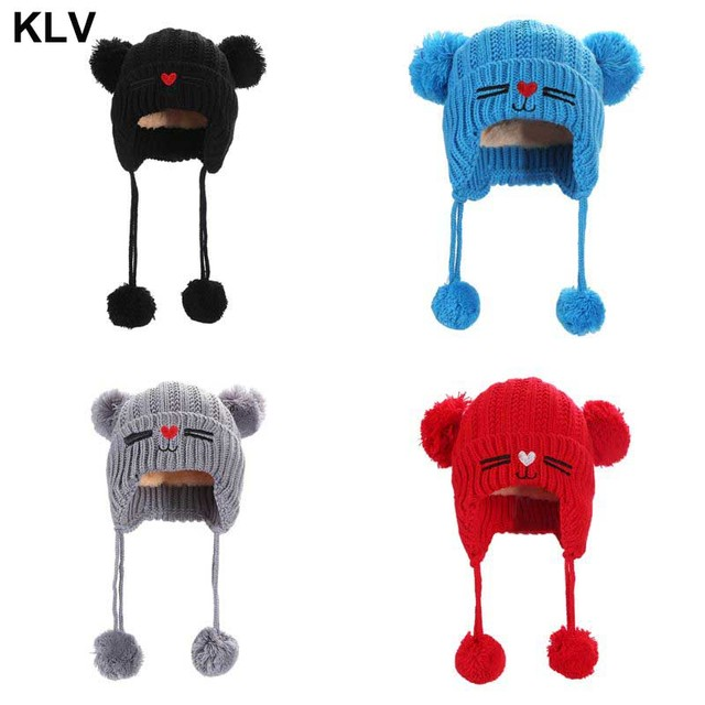 656afe8970c Baby Kids Winter Cuffed Knitted Hat Double Pompom Ball Ears Thicken Lining  Beanie Cap Cute Cat Red Heart Nose Earflap Ear Warmer