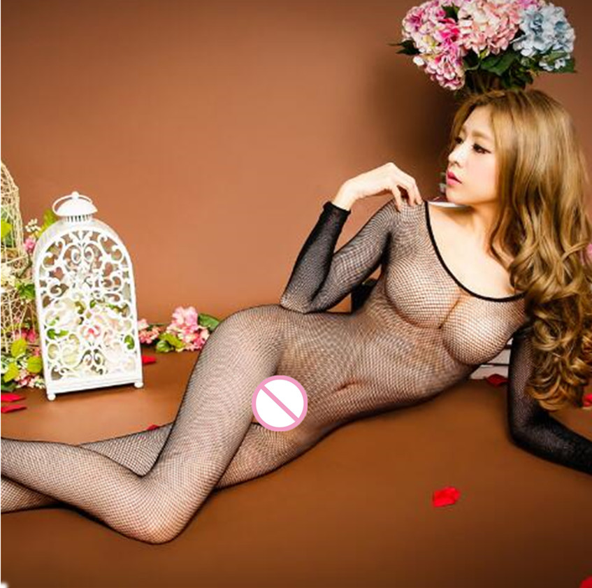 Simple 1Pcs Women Long Sleeve Pantyhose Sleepwear Nightwear Underwear Babydoll Female Black Pajama Home Wear Sleep