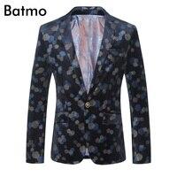 Batmo 2018 Новое поступление высокое качество бархат с принтом повседневные комплекты для мужчин, мужская печатных повседневные блейзеры, печа