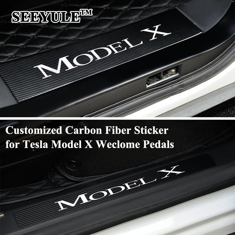 4pcs/set SEEYULE Carbon Fiber Car Front Rear Door Sill Welcome Pedal Sticker Cover Protect for Tesla Model X Decal anti-Scratch carbon fiber vnyl door sill scuff plate welcome pedal threshold protect stickers for mazda cx 5 cx5 2014 2015 8pcs car styling