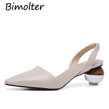 Bimolter Pointed Toe Brand Shoes Women Cowhide Slingback High Heels Big Size Novelty Strange Pumps Chunky Genuine Leather FC042