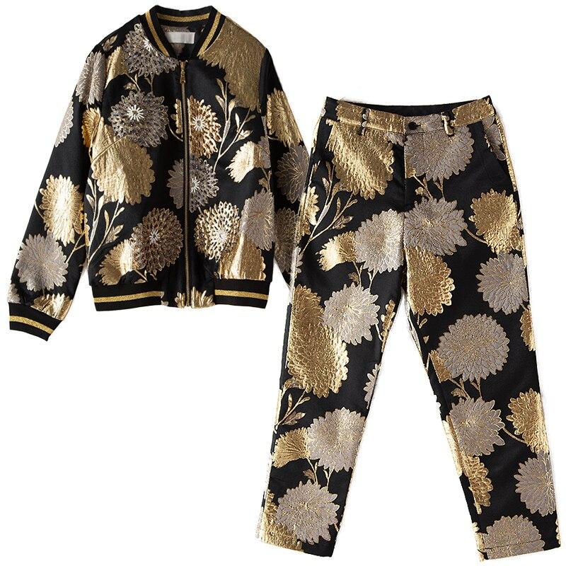 Luxurious Beading  Jacket Coat+Calf-Length Pants 5