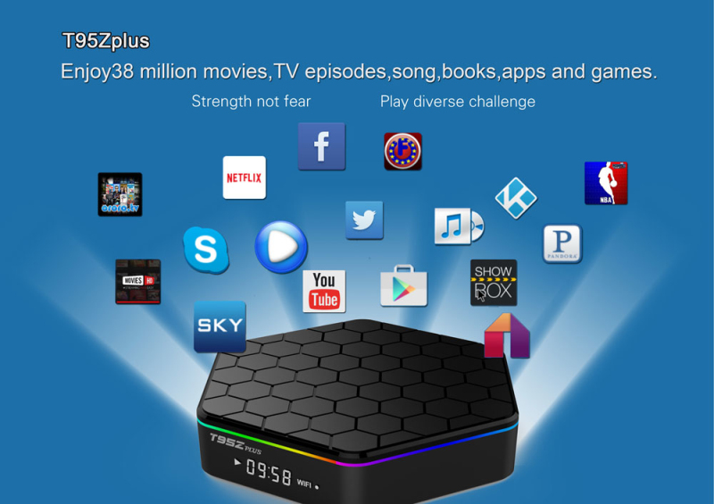 T95Z Plus Amlogic S912 Octa-Core 2GB RAM + 16GB ROM TV Box Player US Plug Black x92 a912 ap6255 professional 2g 16g home tv box top s912 octa core cpu wireless entertainment player us plug type