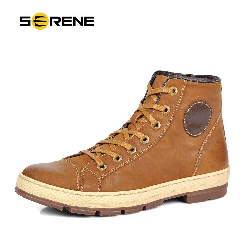 SERENO 2018 Homens Botas de Couro Lace-Up Dos Homens Sapatos Da Moda Retro projeto Botas de Ferramentas Botas Botas Casuais Plus Size Inverno Quente bota