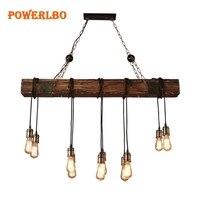 Powerlbo промышленные светодио дный светодиодные подвесные светильники деревянные винтажные лампы Лофт стиль светильники бар кофе Эдисон Рет