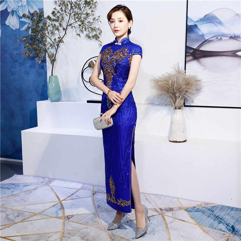 レーススパンコールチャイナロング袍ドレス中国の伝統的な中国服店 Vestido 東洋プラスサイズ 4XL