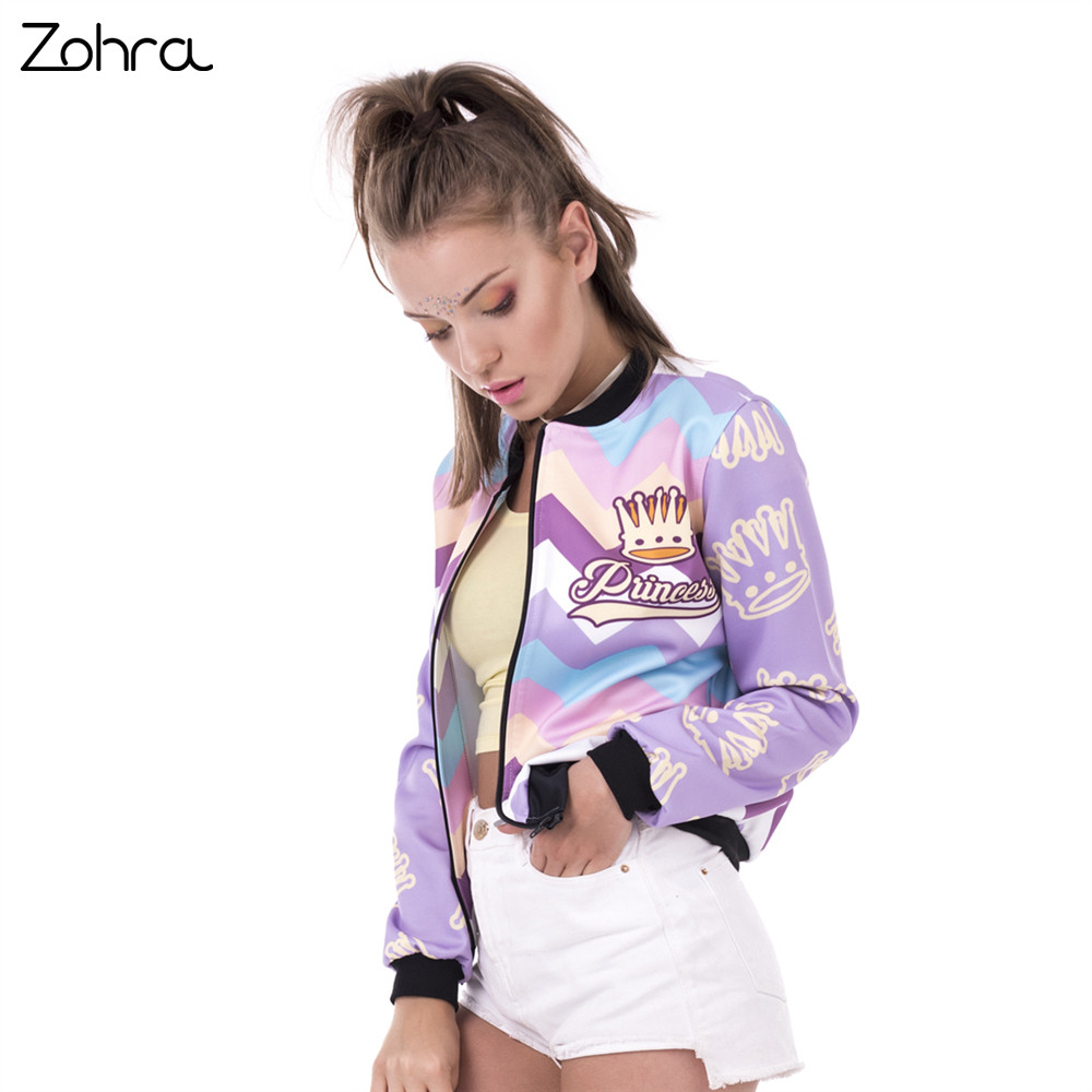Zohra New Spring Women Bomber   Jacket   Princess Zyg Zag Printing Jaqueta Feminina Fashion Sexy Slim   Basic     Jacket   for Woman