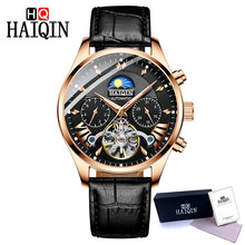 цена на 2019 HAIQIN Men's Watch Tourbillon Mechanical Watch Hollow Automatic Watch Men Wristwatch Top Brand Luxury Clock erkek kol saati