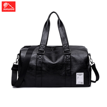 Gym Bag Leather Sport Men Women Training Tas Shoe Compartment Lady Fitness Yoga Travel Luggage Shoulder Black Sac De