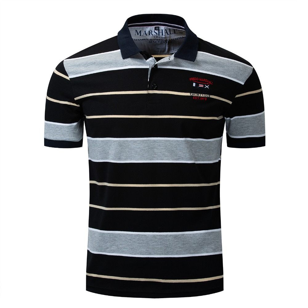 2019 plus récent printemps et été hommes Polos revers Camisa Polos hauts t-shirts rayé décontracté mâle lâche chemise Camisa Polo K1057