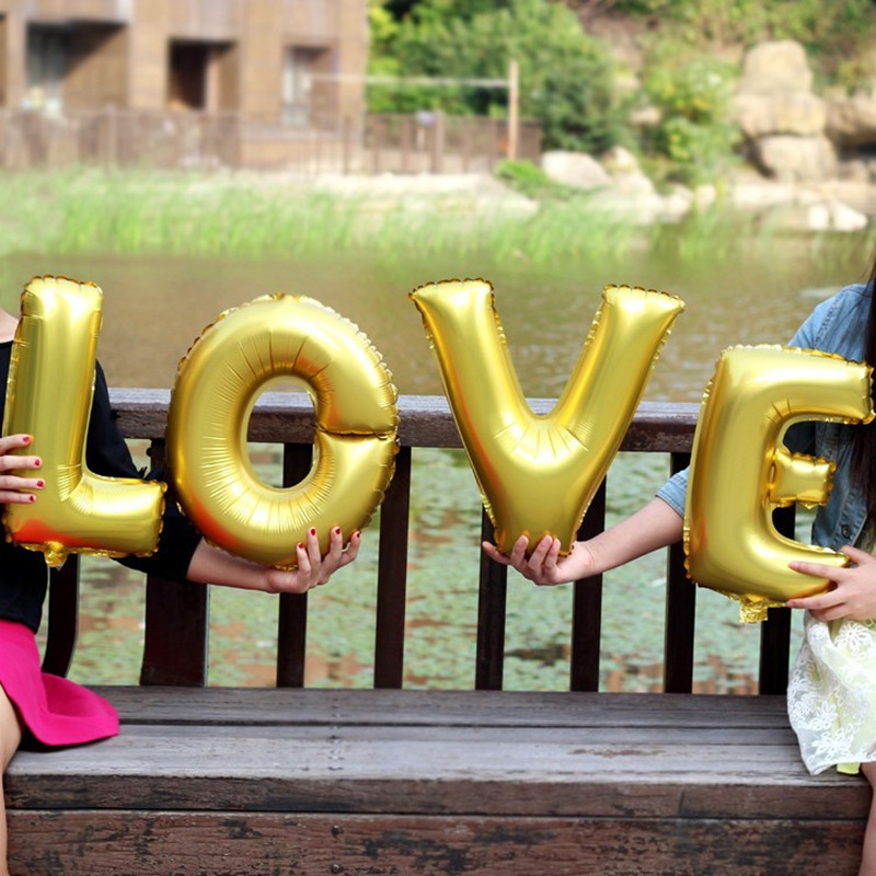 Lucky 4pcs Lot 16inch Gold Silver LOVE Letters Balloon Foil Air Balloons For Wedding