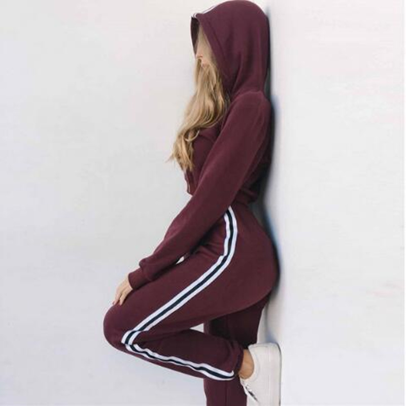 Womens Tracksuits 2 Piece Set Pink Crop Top And Pants Fashion Autumn Casual Lady Tumblr Long Sleeve Hoodies Pants Suit