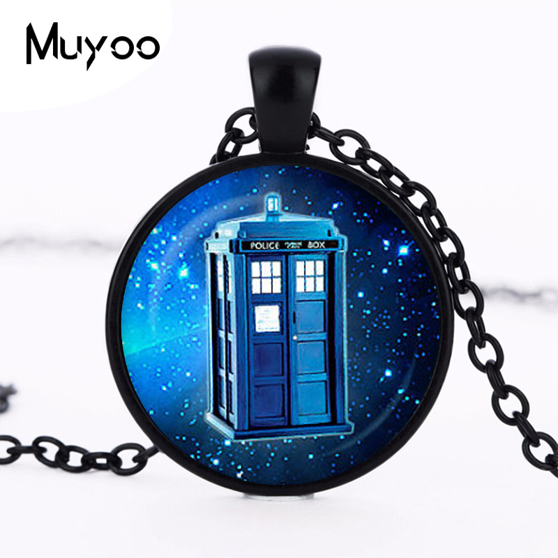 Steampunk drama doctor who tardis necklace dr who timelord companion time Telephone booth lord purple Nebula chain mens HZ1