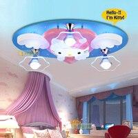 Мультфильм Потолочный Энергосберегающие лампы светодиодные Детская комната Спальня Обувь для мальчиков и девочек Kitty Рисунок «Hello Kitty»