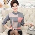 Nova queda e roupas de inverno das mulheres de meia-idade assentamento camisa em torno do pescoço suéter de cashmere malha camisolas Plus Size M-XXXL
