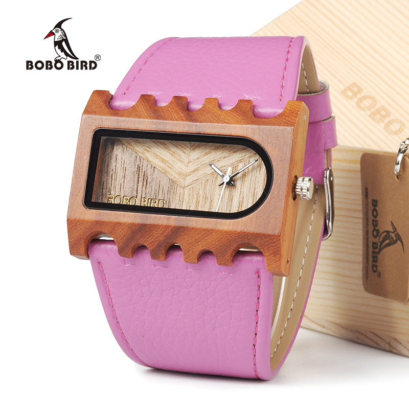 BOBO BIRD EN21 Handmade Unique Colorful Women Casual Dress Wristwatch Lightweight With Leather Bands With Gift Box bobo bird brand new sun glasses men square wood oversized zebra wood sunglasses women with wooden box oculos 2017