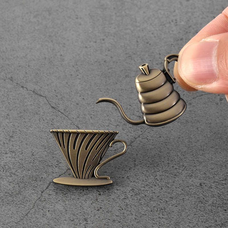 コーヒー創造ブローチエスプレッソカフェ装飾アクセサリーバリスタバッジ EK43 コーヒー豆ブローチ追悼のためにギフト