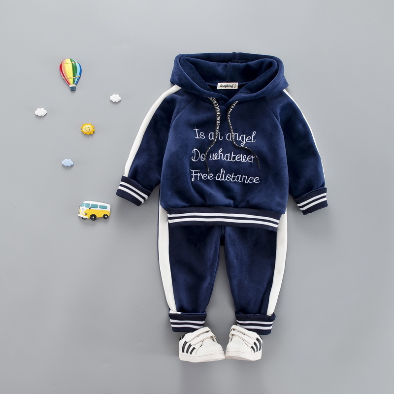 724668b40f59b 2018 Autumn Winter Baby Girls Boys Clothing Sets Kids Casual Letter Hooded  Thicken Velvet T Shirt Children's Sports Suit Clothes-in Clothing Sets from  ...