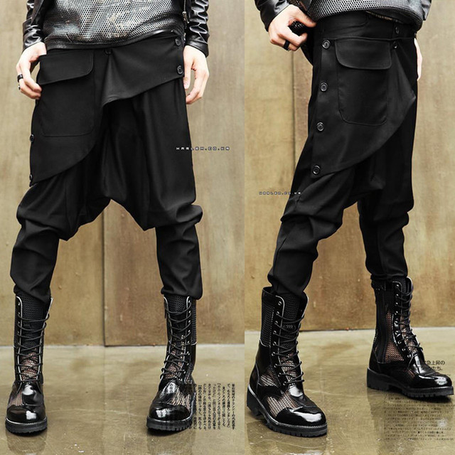 27-44!!2016 Male non-mainstream hanging crotch pants hiphop personality harem fashion increase the  pants