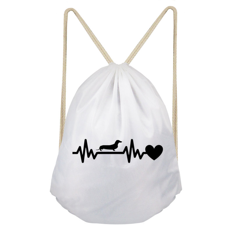 THIKIN Heartbeat Dachshunds Women Drawstring Bags Mom Style Fashion Shoulder Bags Girls Travel Storage Pouch Custom New Arrival