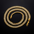 new Two Tone Necklace  Real Gold Plated Men Jewelry Wholesale 2017 New Trendy 55 CM Cuban Link Chain Necklace