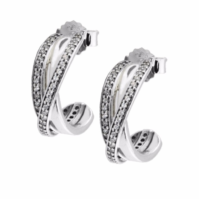 2016 new Compatible with European Jewelry Signature Silver hoop earrings New 925 Sterling Silver Earring DIY Wholesale FE821
