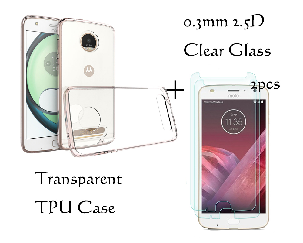 Para motorola moto z2 play xt1710 transparente tpu capa de silicone - Peças e acessórios para celular